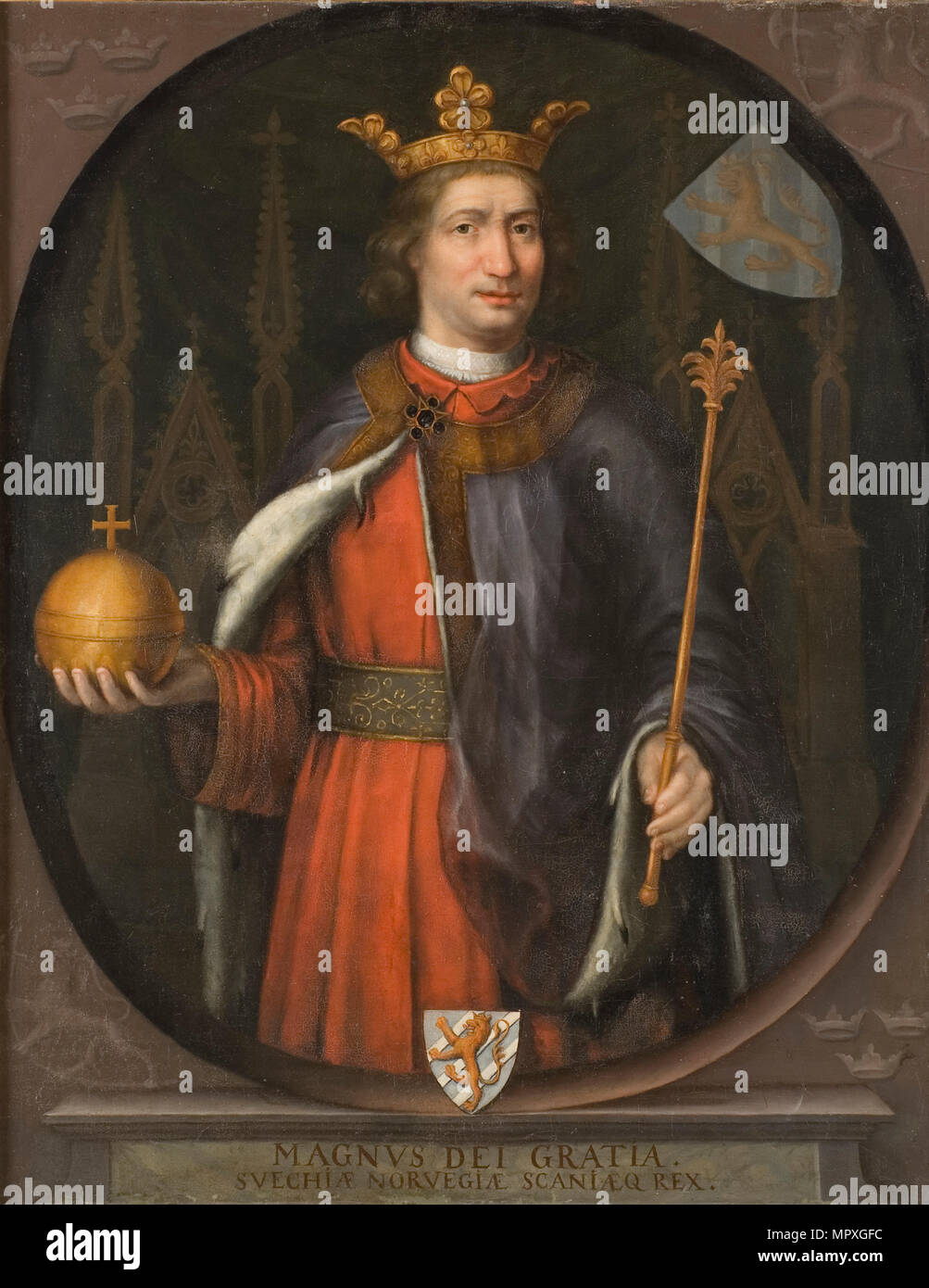 Portrait of Magnus Eriksson (1316-1374), King of Sweden and Norway. - Stock Image