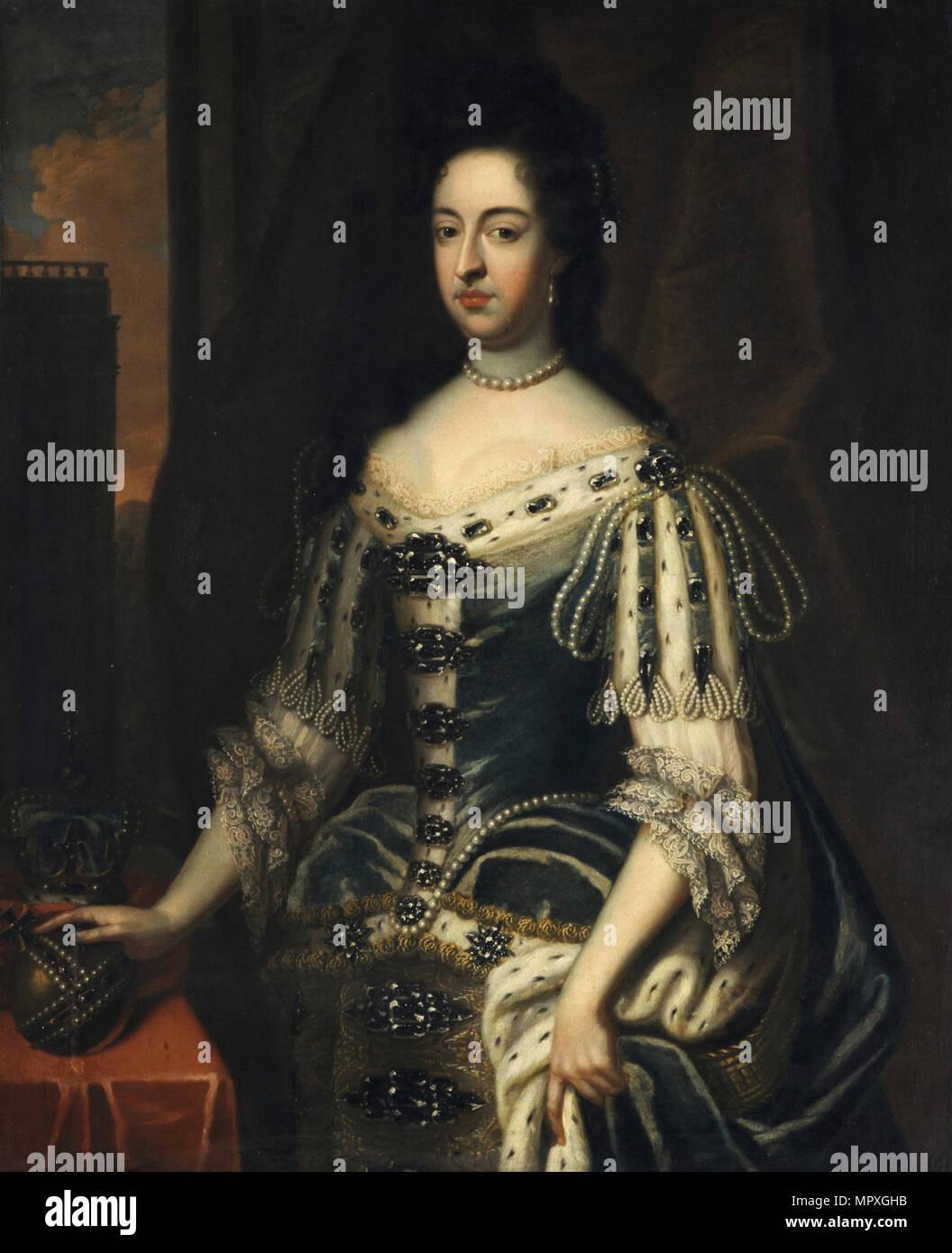 Portrait of Mary II of England (1662-1694). - Stock Image