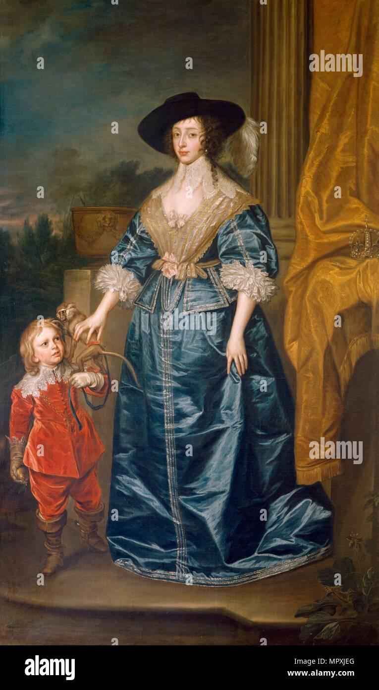 'Queen Henrietta Maria and the Dwarf Sir Jeffrey Hudson', 17th century. Artist: Unknown. - Stock Image