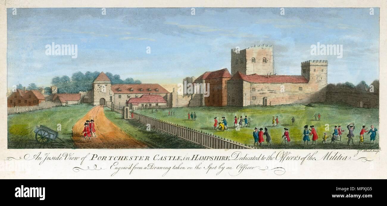 Portchester Castle, Hampshire, 1720. Artist: James Peake. - Stock Image