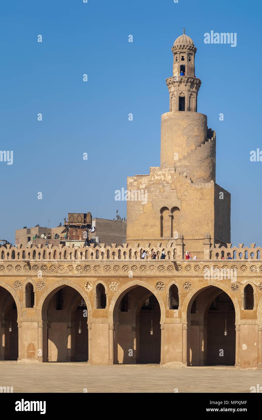 Cairo, Egypt - November 27, 2015: Minaret of Ibn Tulun Mosque, Medieval Cairo, Egypt - Stock Image
