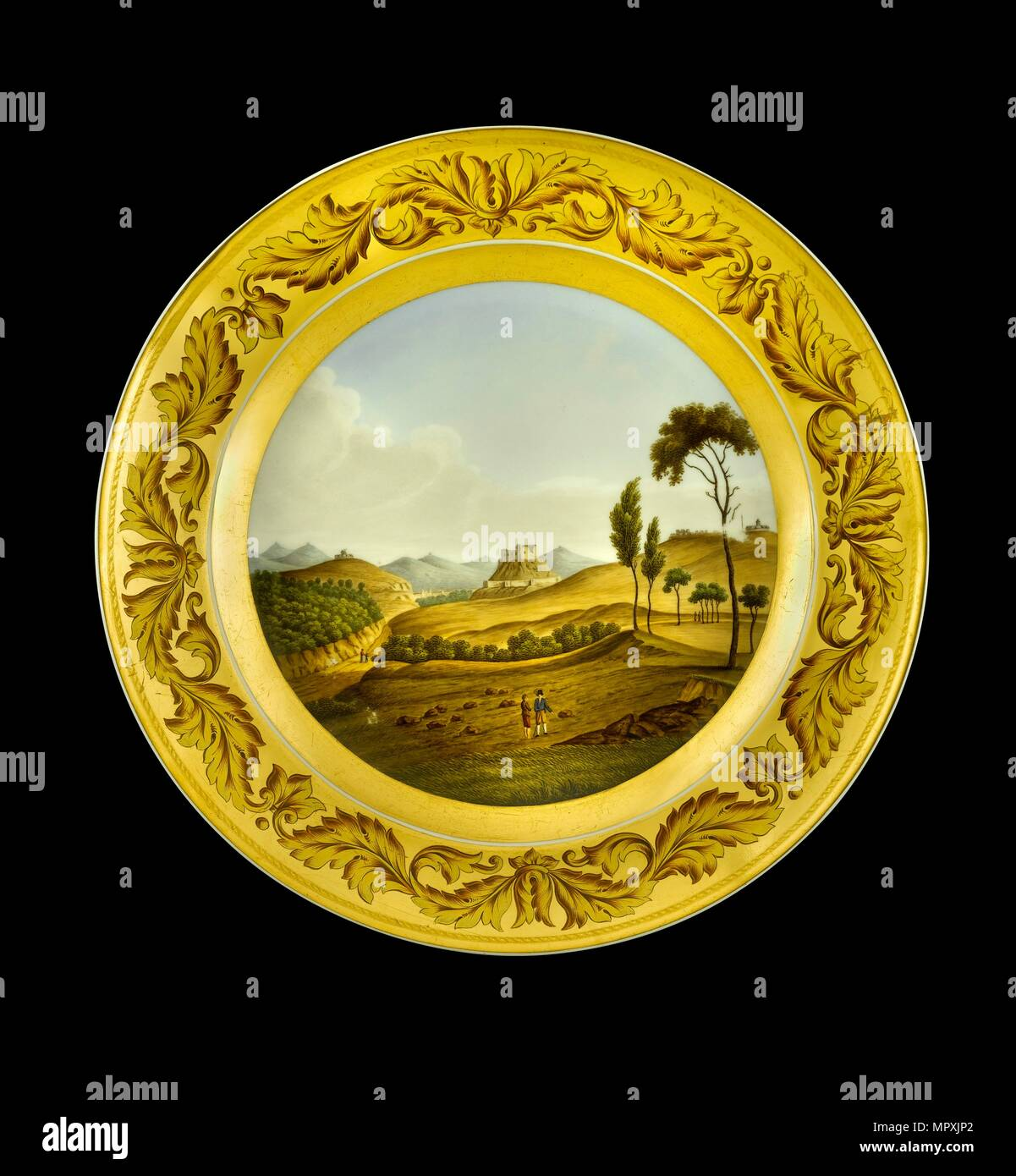 Dessert plate depicting the Lines of Torres Vedras, Portugal, 1810s. Artist: AJ Photographics. - Stock Image
