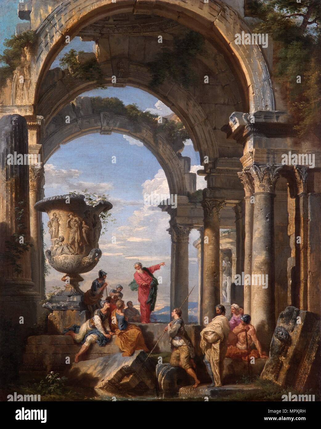 'St Paul Preaching at Athens', 1737. Artist: Giovanni Paolo Panini. - Stock Image