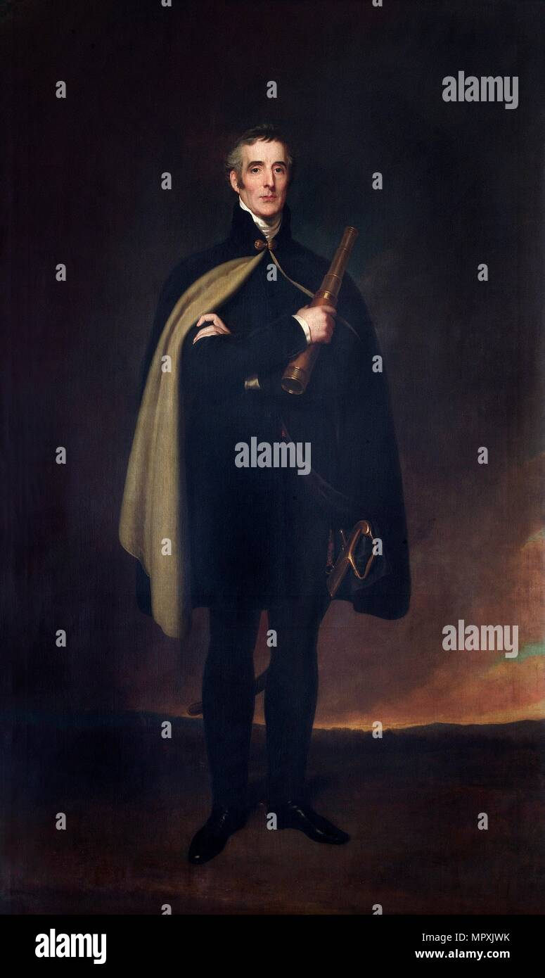 Portrait of the Duke of Wellington, 1860. Artist: Spiridione Gambardella. - Stock Image