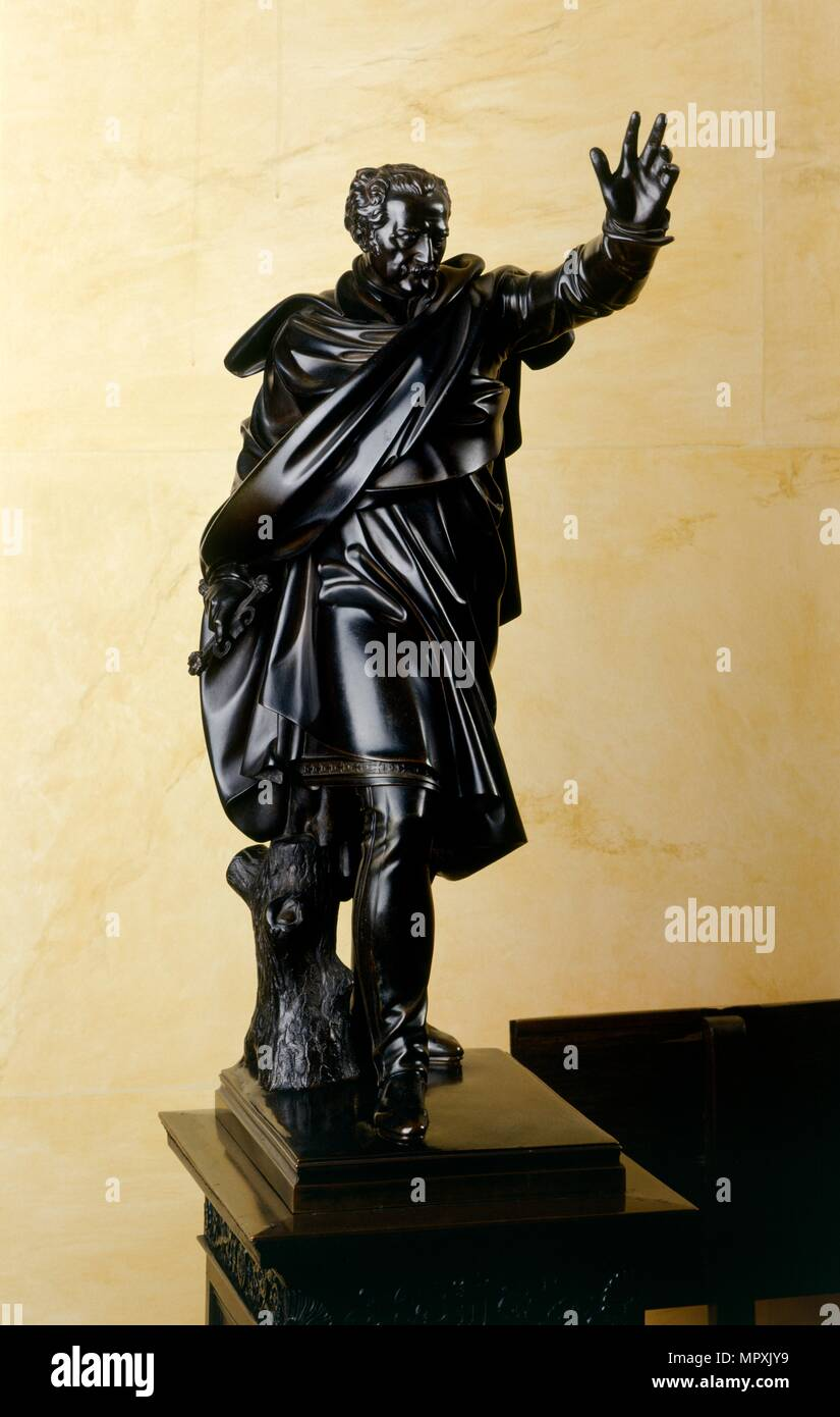 Statuette of Prince Gebhard von Blucher, Prussian general of the Napoleonic Wars, 1824. Artist: Nigel Corrie. - Stock Image