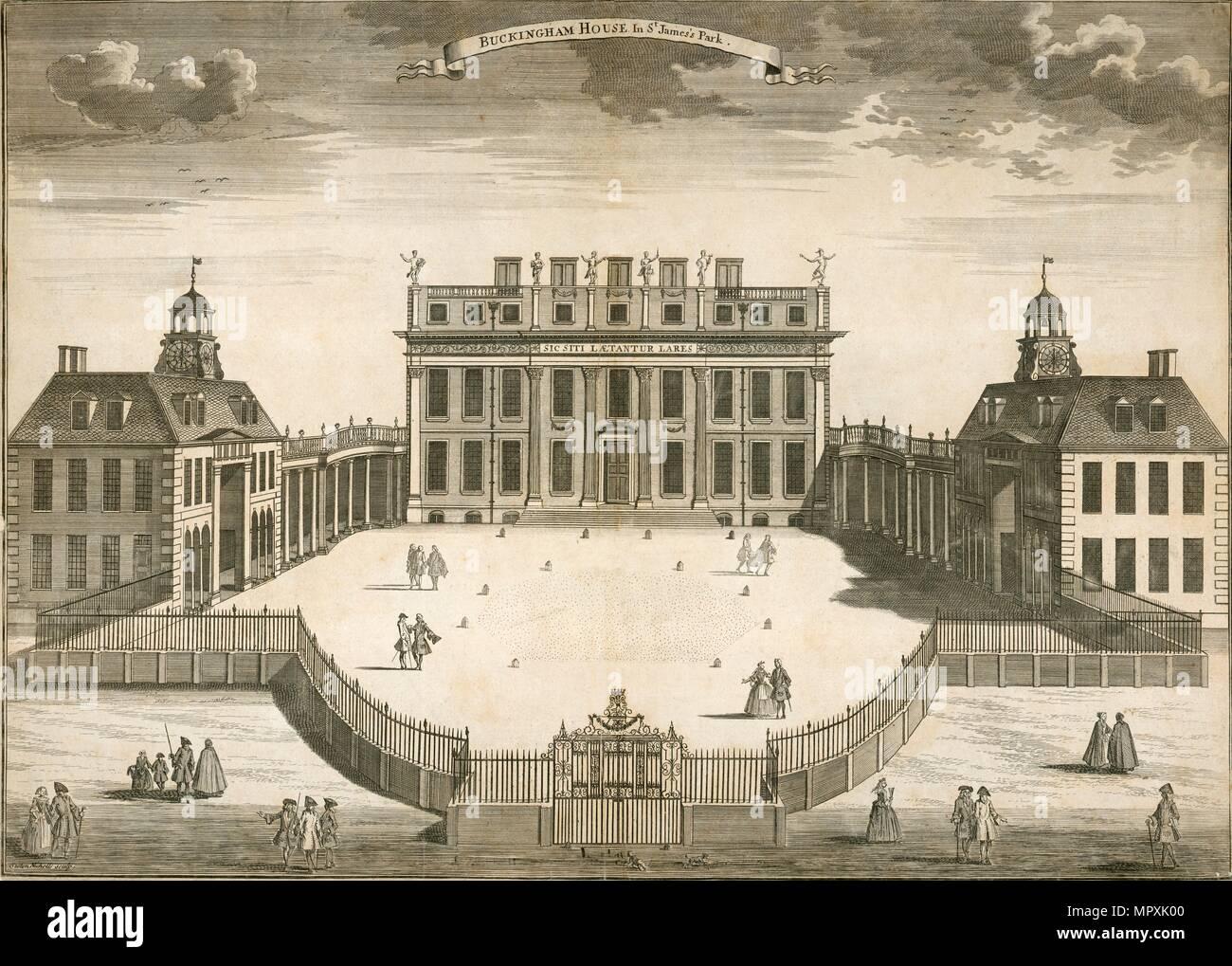 'Buckingham House in St James Park', London, 1750. Artist: Sutton Nicholls. - Stock Image