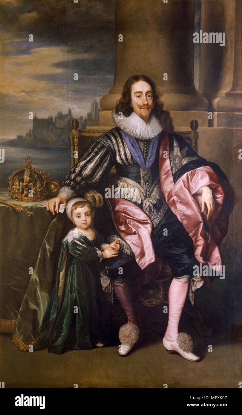 'King Charles I and Prince Charles', 17th century. Artist: Unknown. - Stock Image