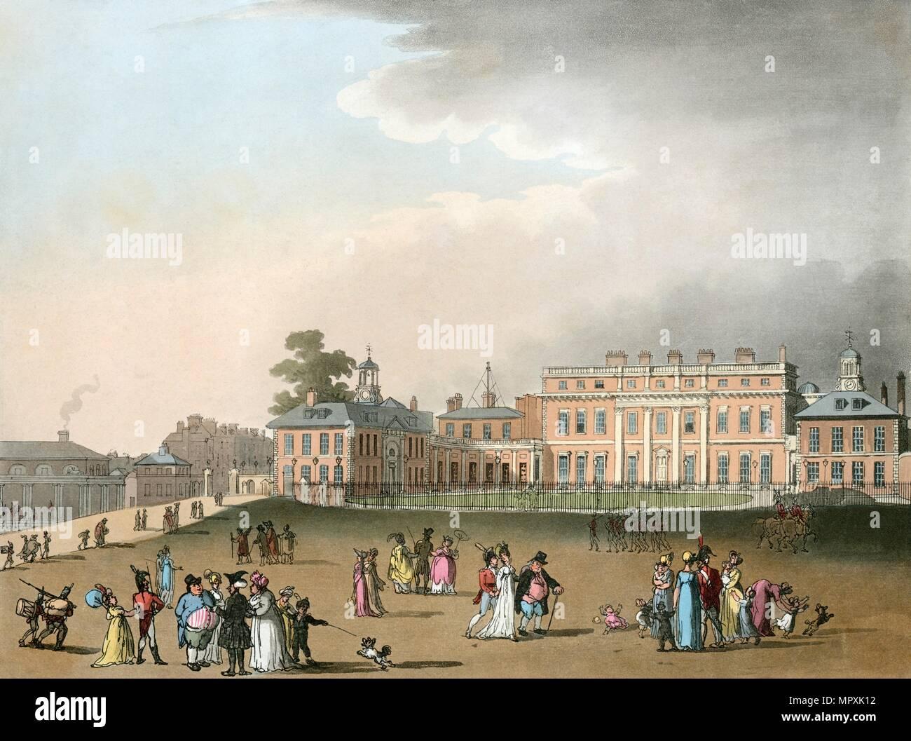 Buckingham Palace, London, 1809. Artist: Augustus Charles Pugin. - Stock Image