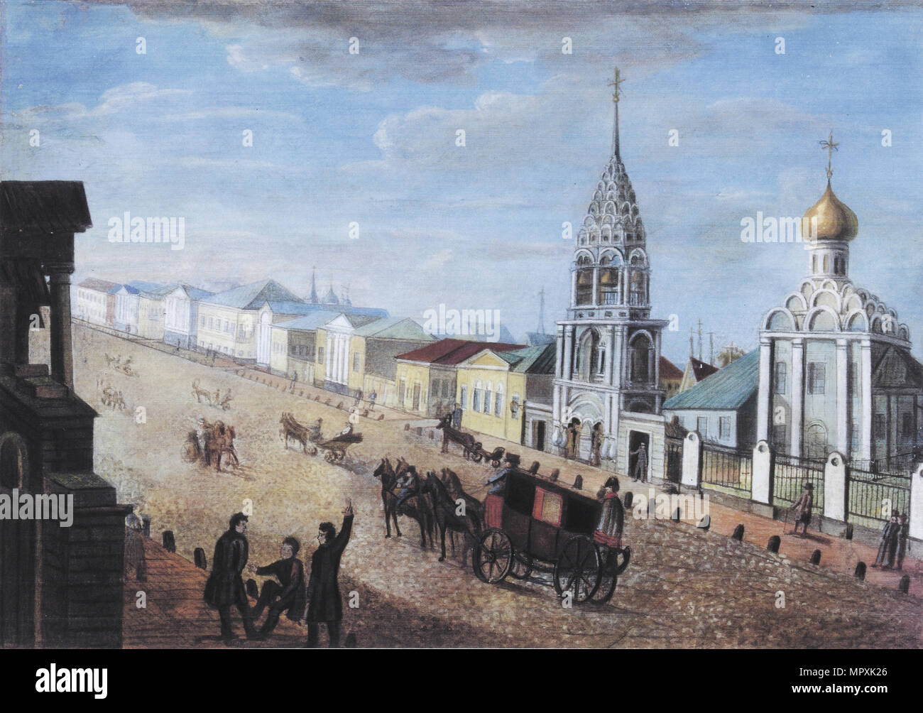 View of the Arbat Street in Moscow, 1830s. - Stock Image