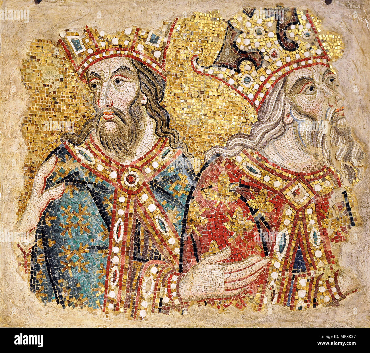 The Three Magi. Mosaic fragments from the Basilica San Marco, Venice , 14th century. - Stock Image