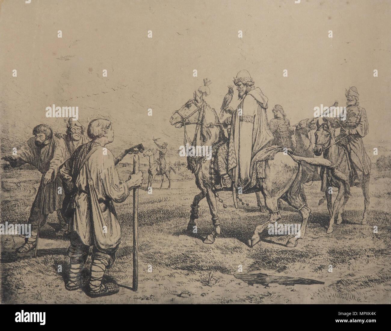 Tsar Ivan the Terrible at the Falconry, 1872. - Stock Image