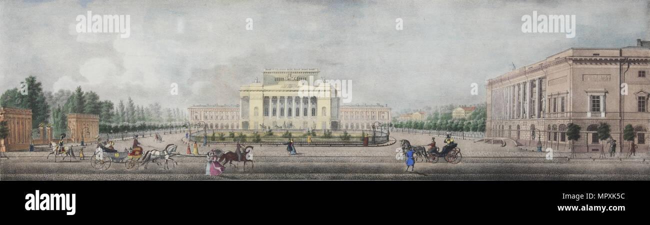 The Alexandrinsky Theatre (From the panorama of the Nevsky Prospekt), 1830. - Stock Image