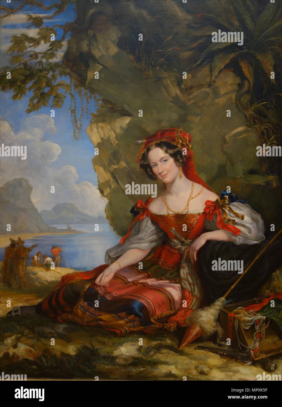 Portrait of Lady Catherine Caroline Montagu (1808-1834), wife of Count Alexandre Joseph Colonna-Wale - Stock Image