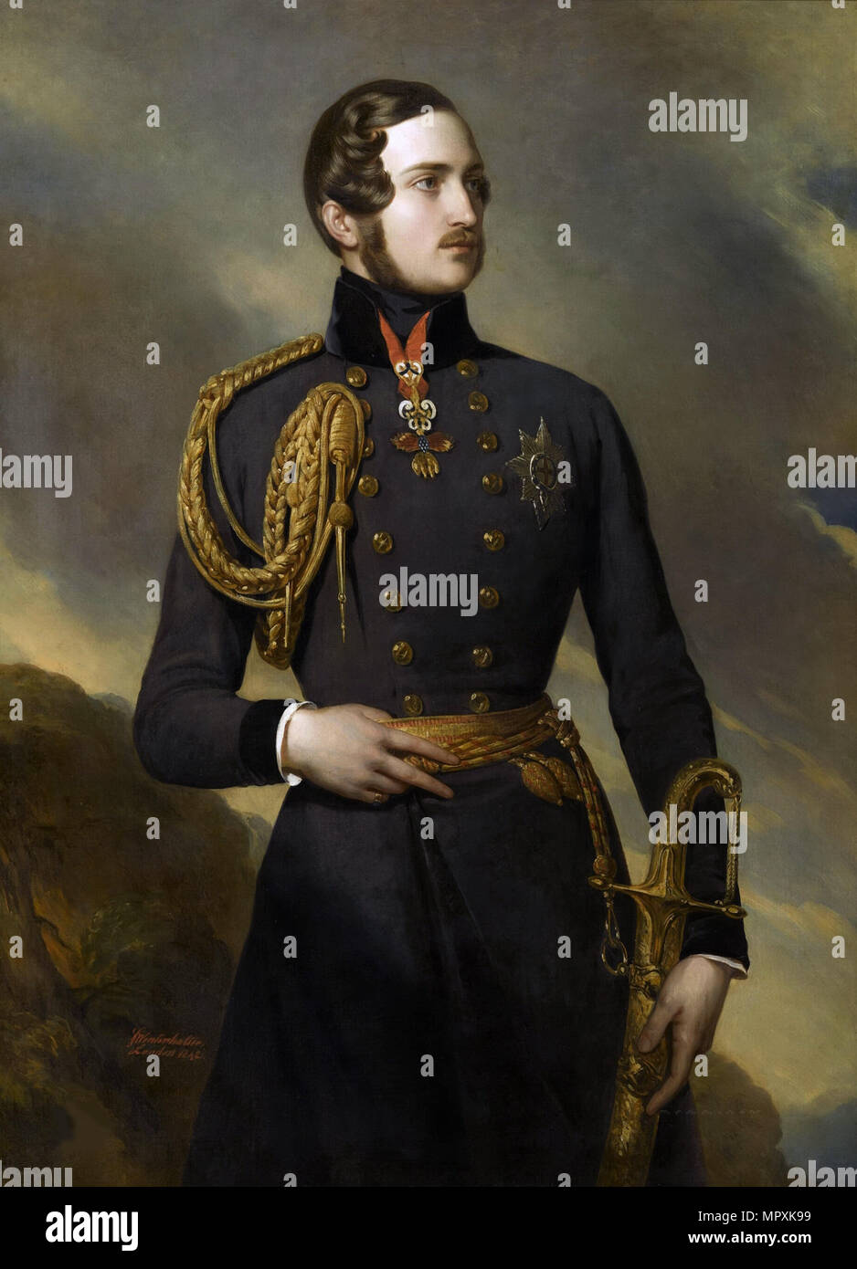 Portrait of Prince Albert of Saxe-Coburg and Gotha (1819-1861), 1842. - Stock Image