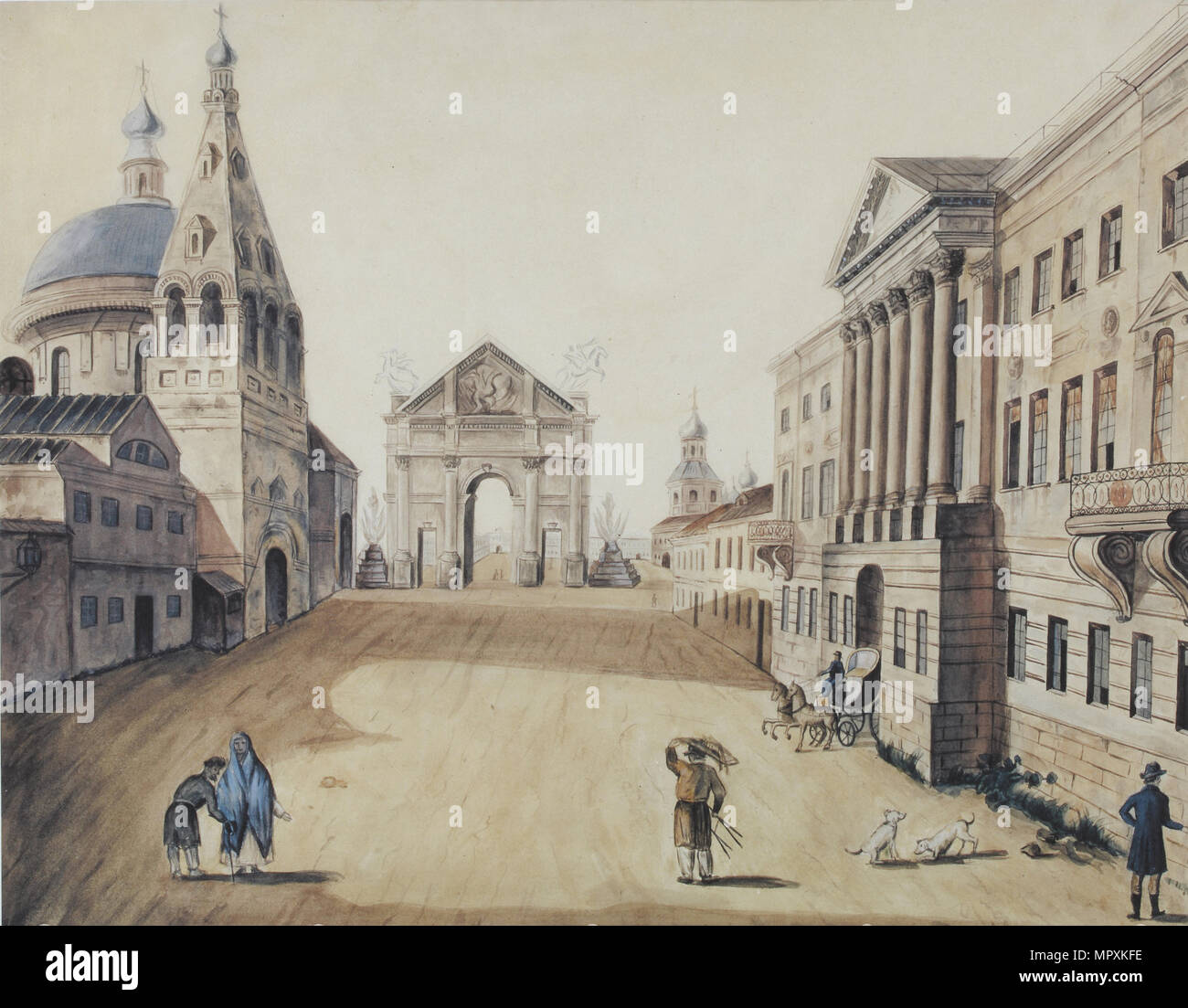 View of the Strastnaya Square in Moscow, Early 1800s. - Stock Image