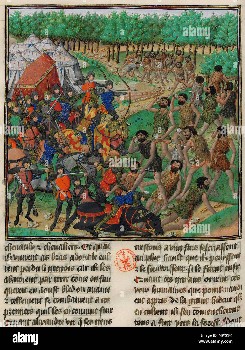 The army of Alexander the Great fights the Giants, 1448. - Stock Image