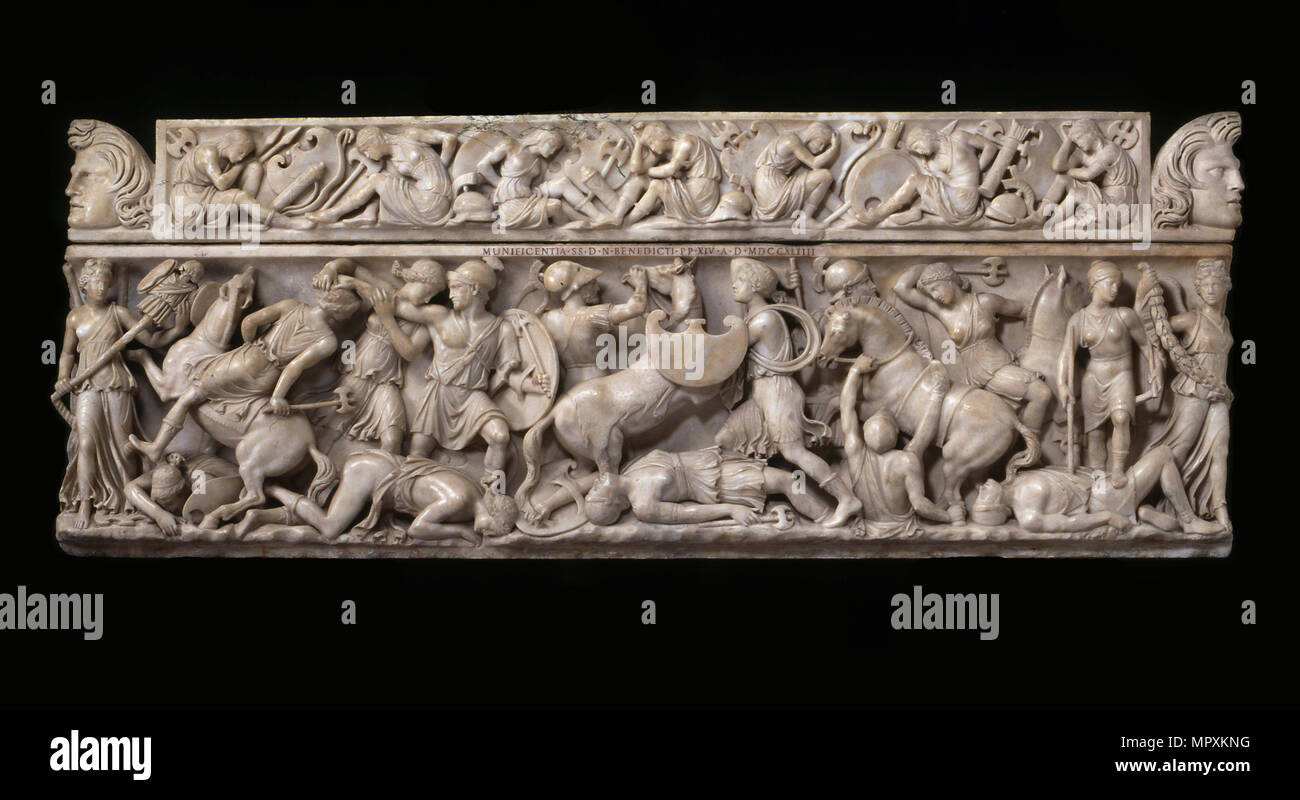 Sarcophagus with battle scenes between the Greeks and the Amazons, 2nd cen. AD. - Stock Image