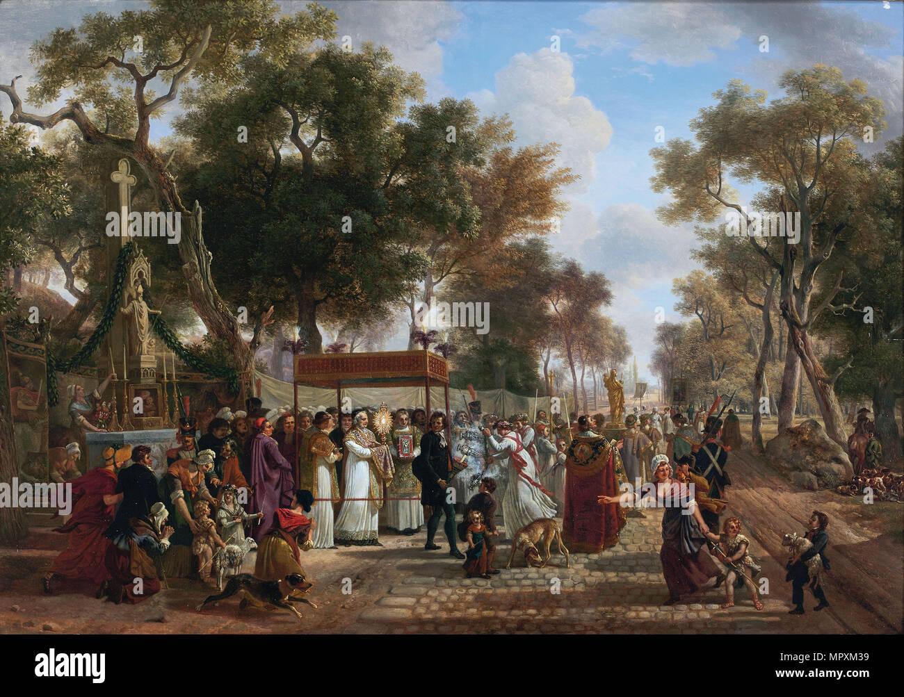 The Corpus Christi procession in a village. - Stock Image