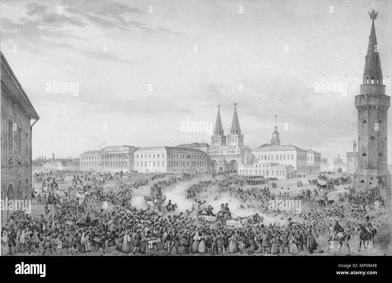 Departure from Moscow of Emperor Nicholas I, 1820s. - Stock Image