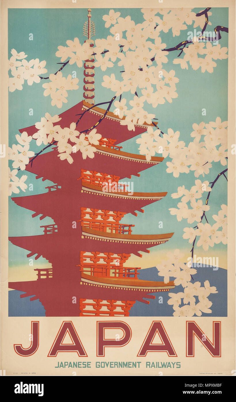 Japan. Travel poster, 20th century. - Stock Image