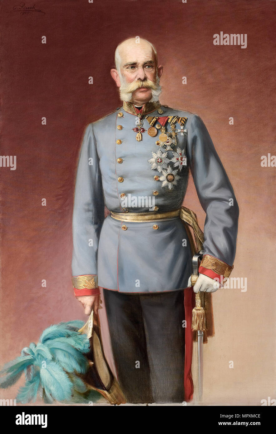 Portrait of Franz Joseph I of Austria, 1900. - Stock Image
