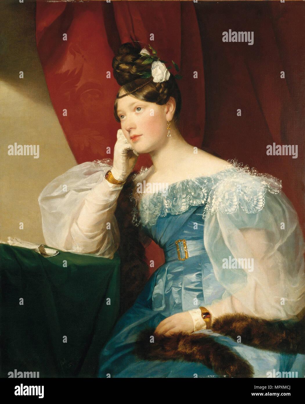 Portrait of Julie von Woyna, née Freiin von Krieg-Hochfelden, later Benedek (1811-1895), 1832. - Stock Image