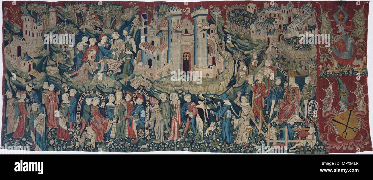 Courtly Love Games (Spieleteppich), tapestry, ca 1400. - Stock Image
