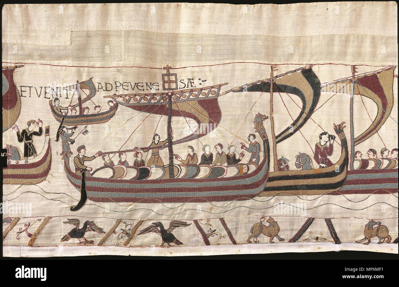 The Bayeux Tapestry. Scene 38: William and His Fleet Cross the Channel, ca 1070. - Stock Image