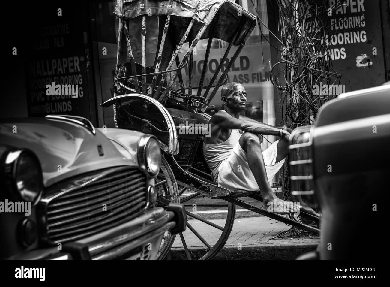 Kolkata rickshawalataxi indian street photographyrickshawindialovesad