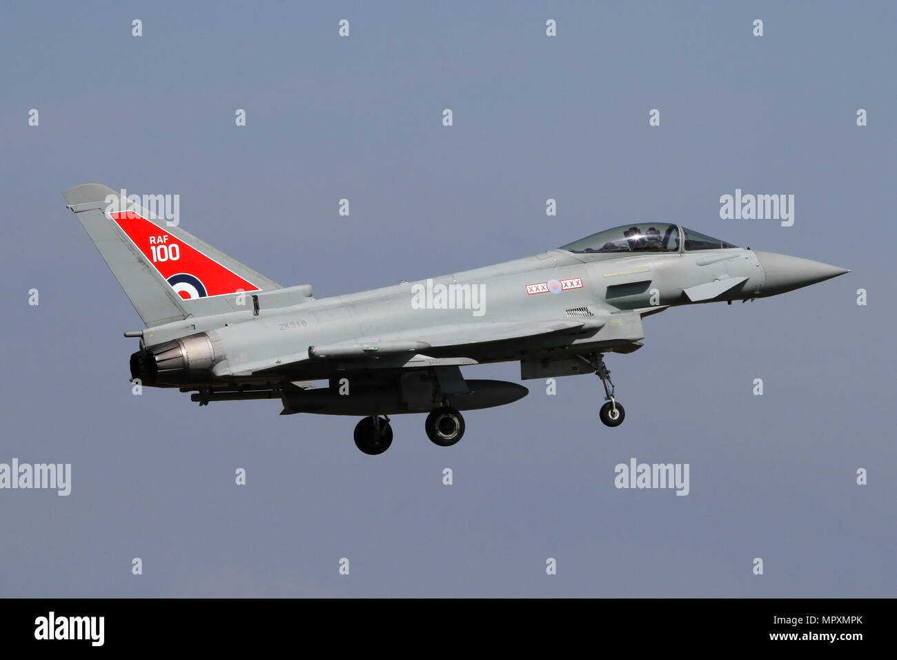 Eurofighter Typhoon FGR4 from 29 Squadron landing at RAF Coningsby. Aircraft shows the RAF 100 year anniversary markings for 2018. - Stock Image