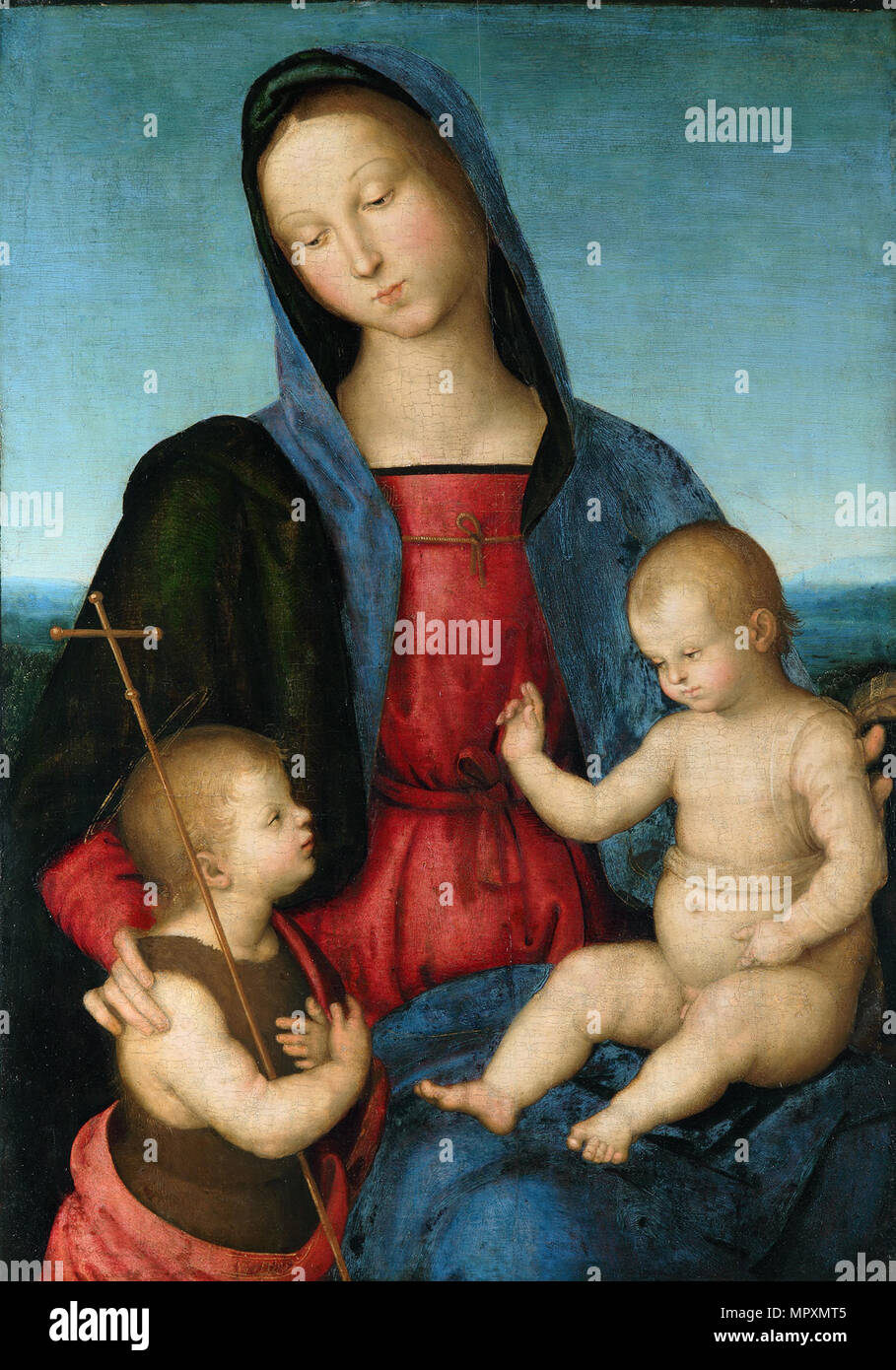 Virgin with the Christ Child blesses the Infant Saint John the Baptist (Diotalevi Madonna), ca 1503. - Stock Image