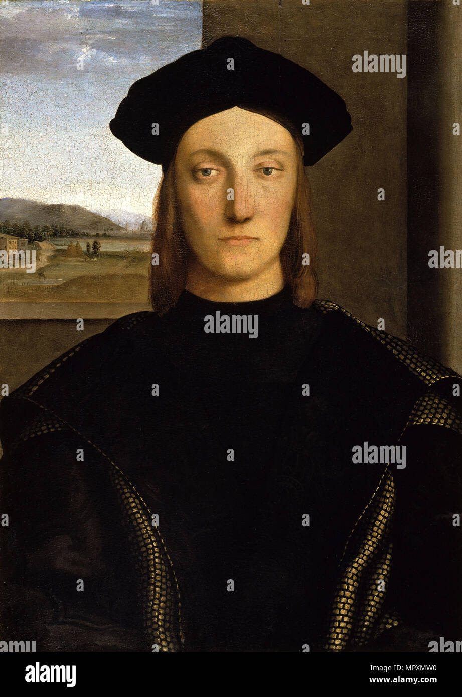 Portrait of Guidobaldo da Montefeltro (1472-1508), Duke of Urbino , ca 1506. - Stock Image