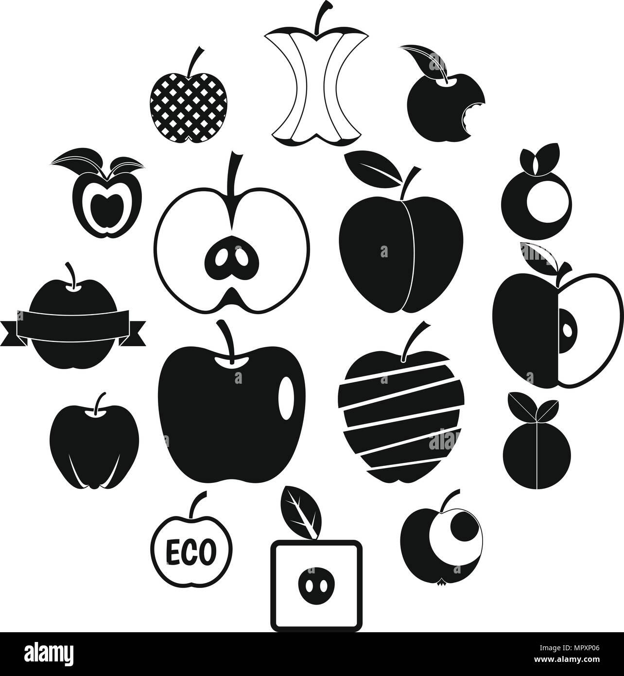 Apple icons set design logo, simple style Stock Vector Art