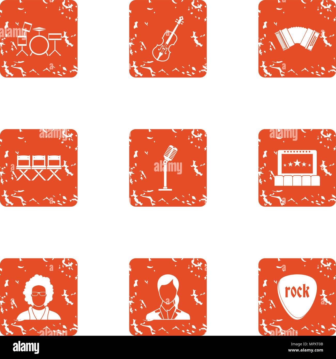 Recital icons set, grunge style - Stock Image
