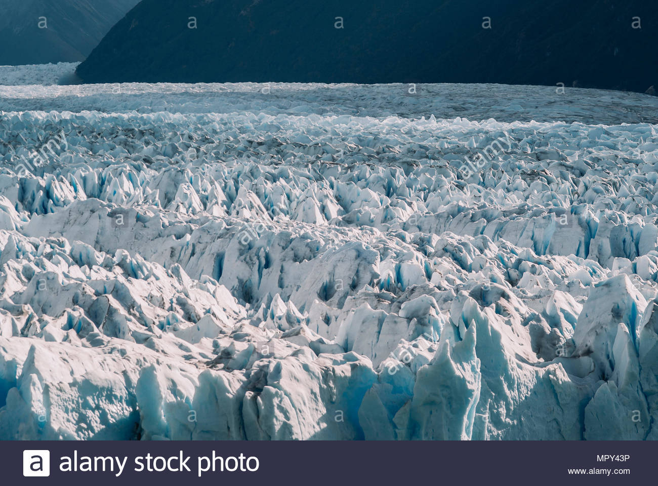 Scenic view of glaciers at El Calafate - Stock Image