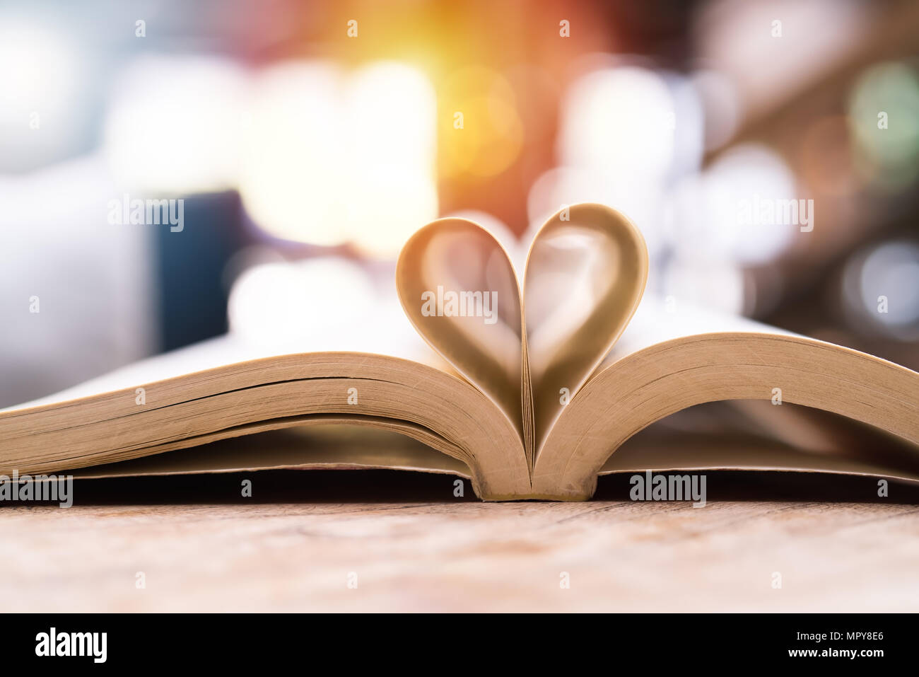 book in heart shape, wisdom and education concept, world book and copyright day - Stock Image
