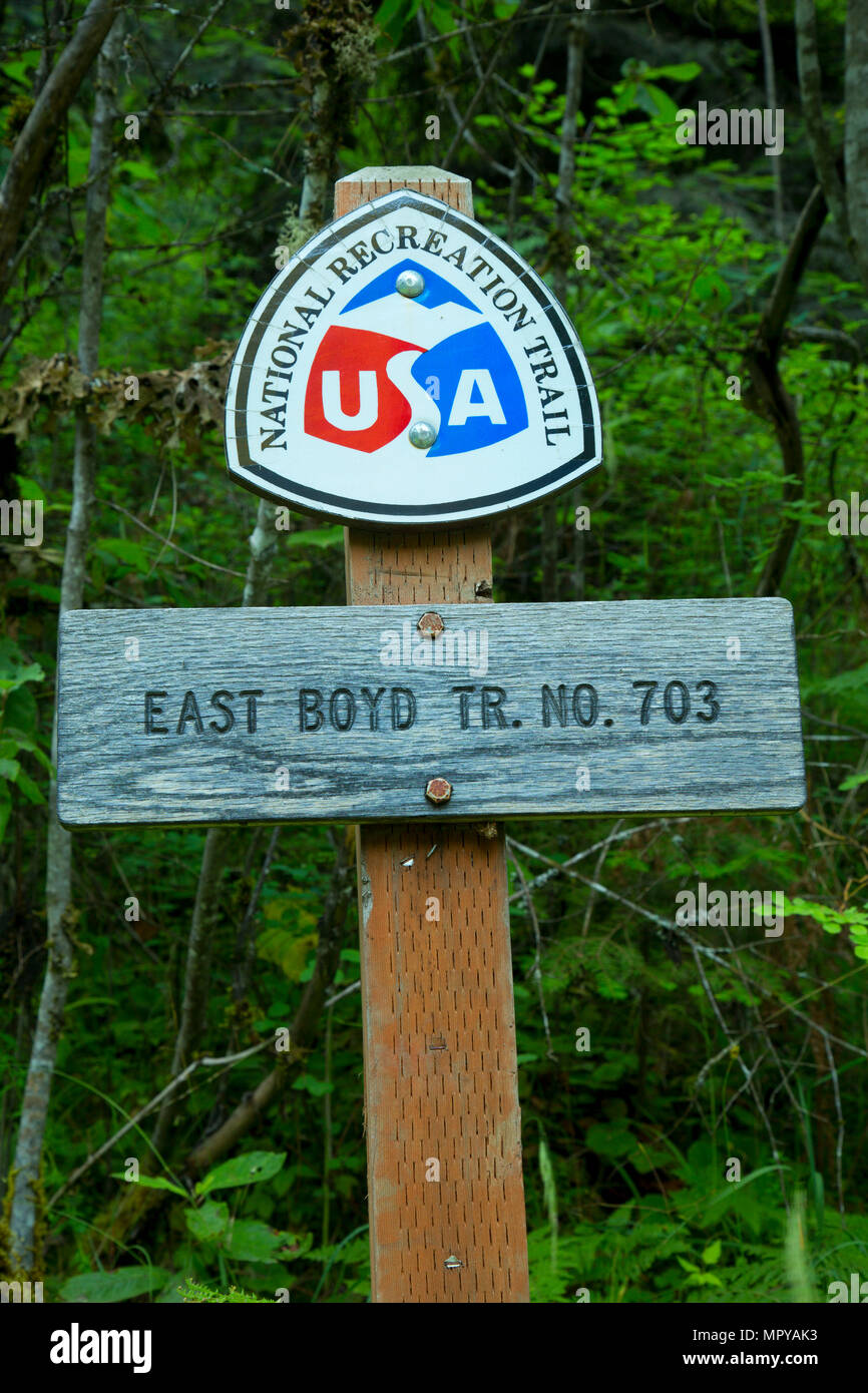 East Boyd Trail National Recreation Trail sign, Selway Wild and Scenic River, Nez Perce National Forest, Idaho - Stock Image