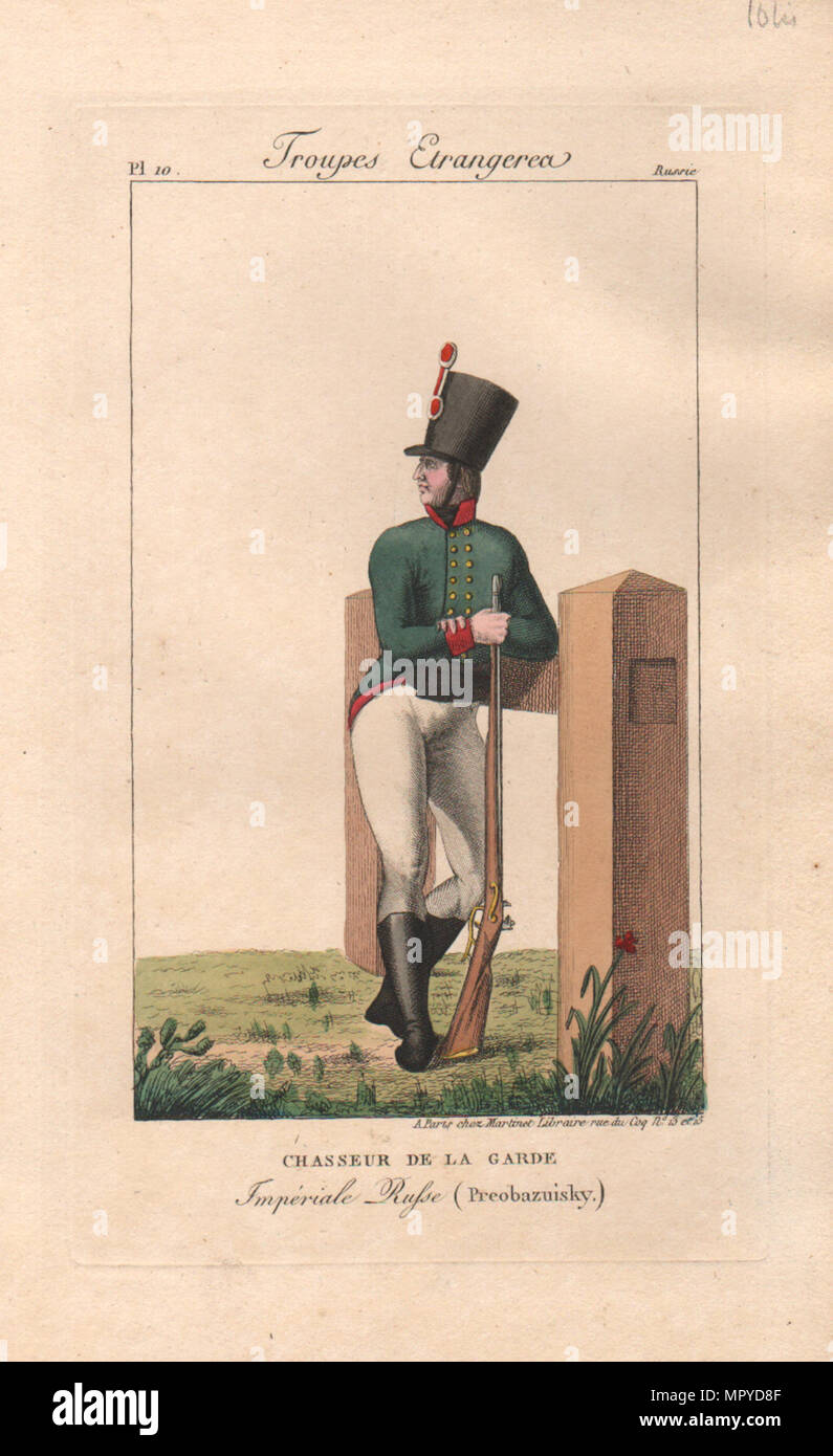 Light infantryman of the Preobrazhensky Regiment , 1816-1822 . - Stock Image
