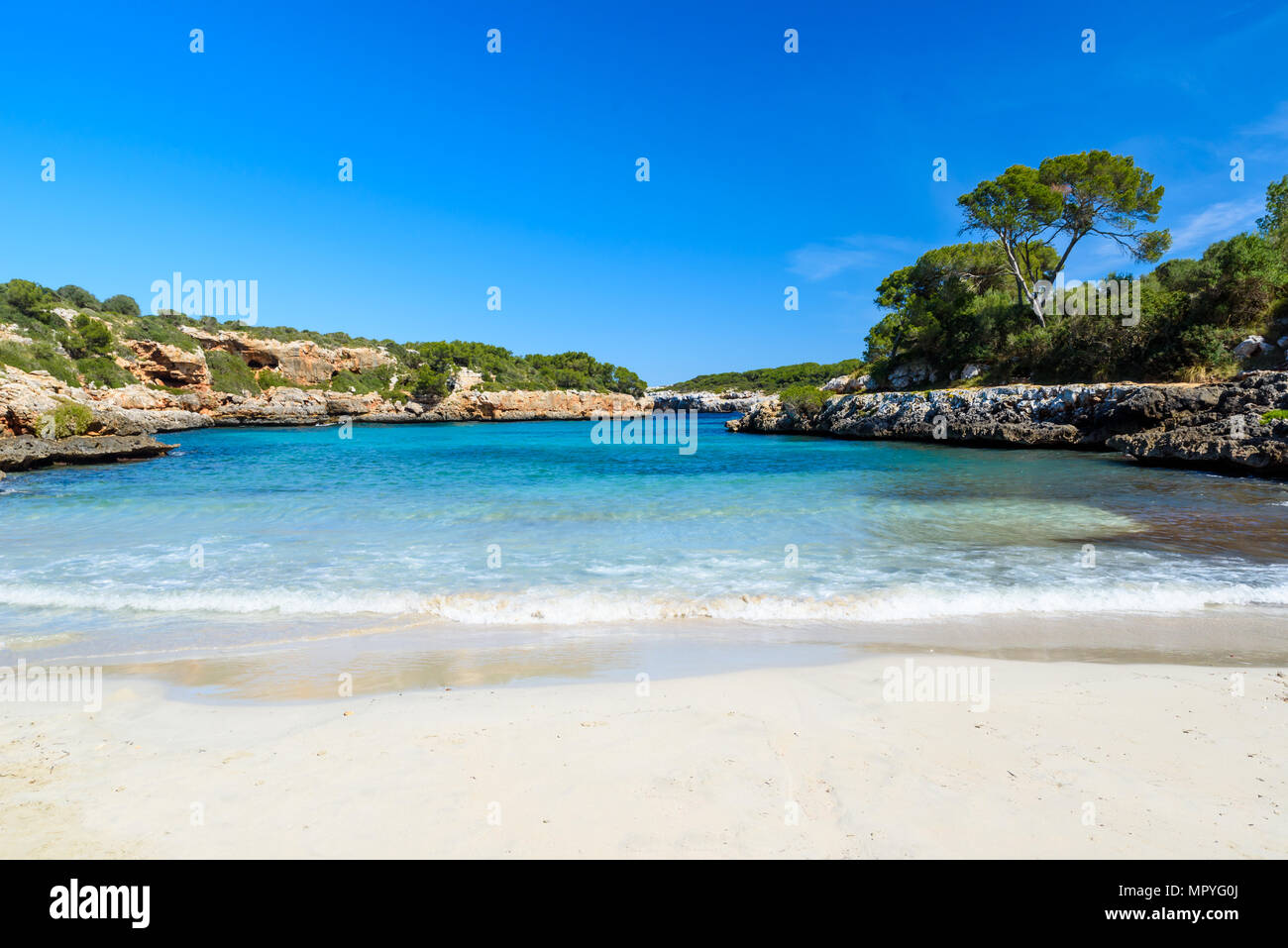 Cala Sa Nau - beautiful bay and beach on Mallorca, Spain - Europe Stock Photo