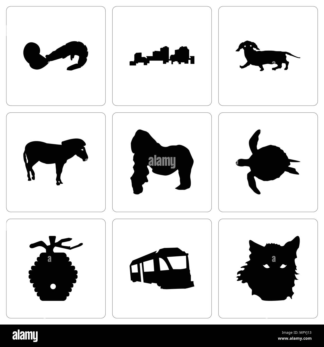 Set Of 9 simple editable icons such as wolf face, train