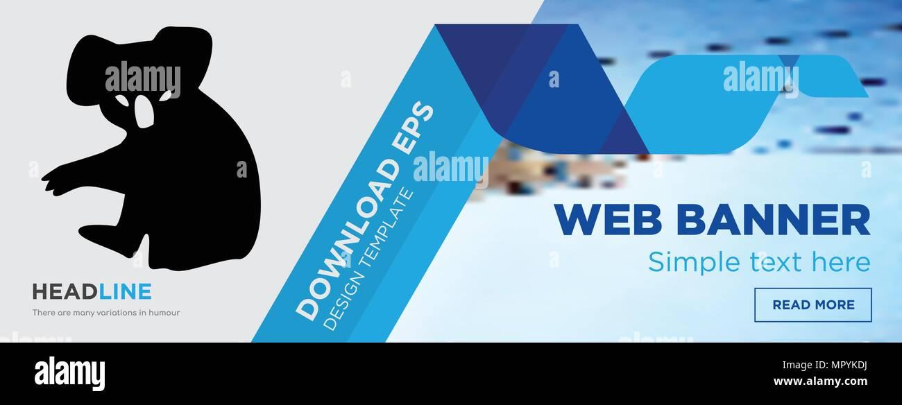 koala concept horizontal webpage banner template design on abstract