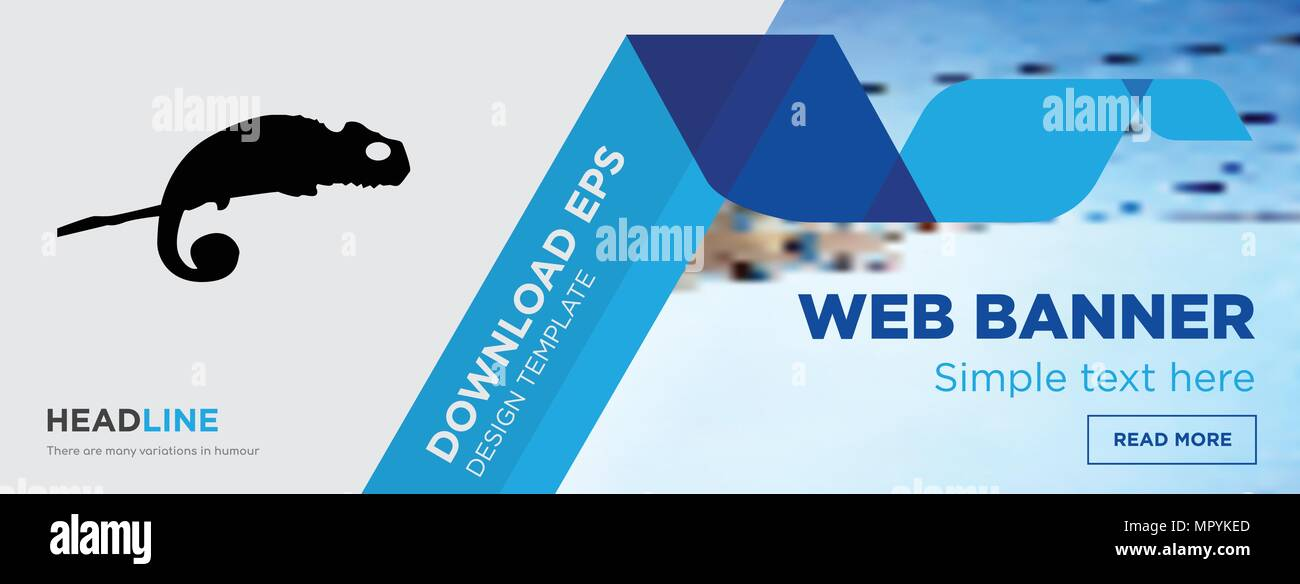 chameleon concept horizontal webpage banner template design on ...