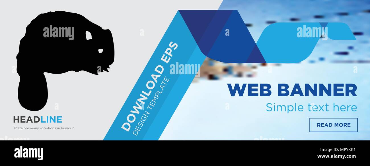 Beaver Concept Horizontal Webpage Banner Template Design On Abstract