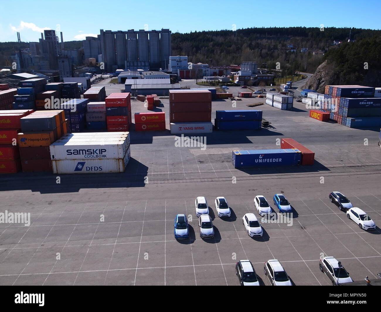 Port of Brevik, Norway Stock Photo
