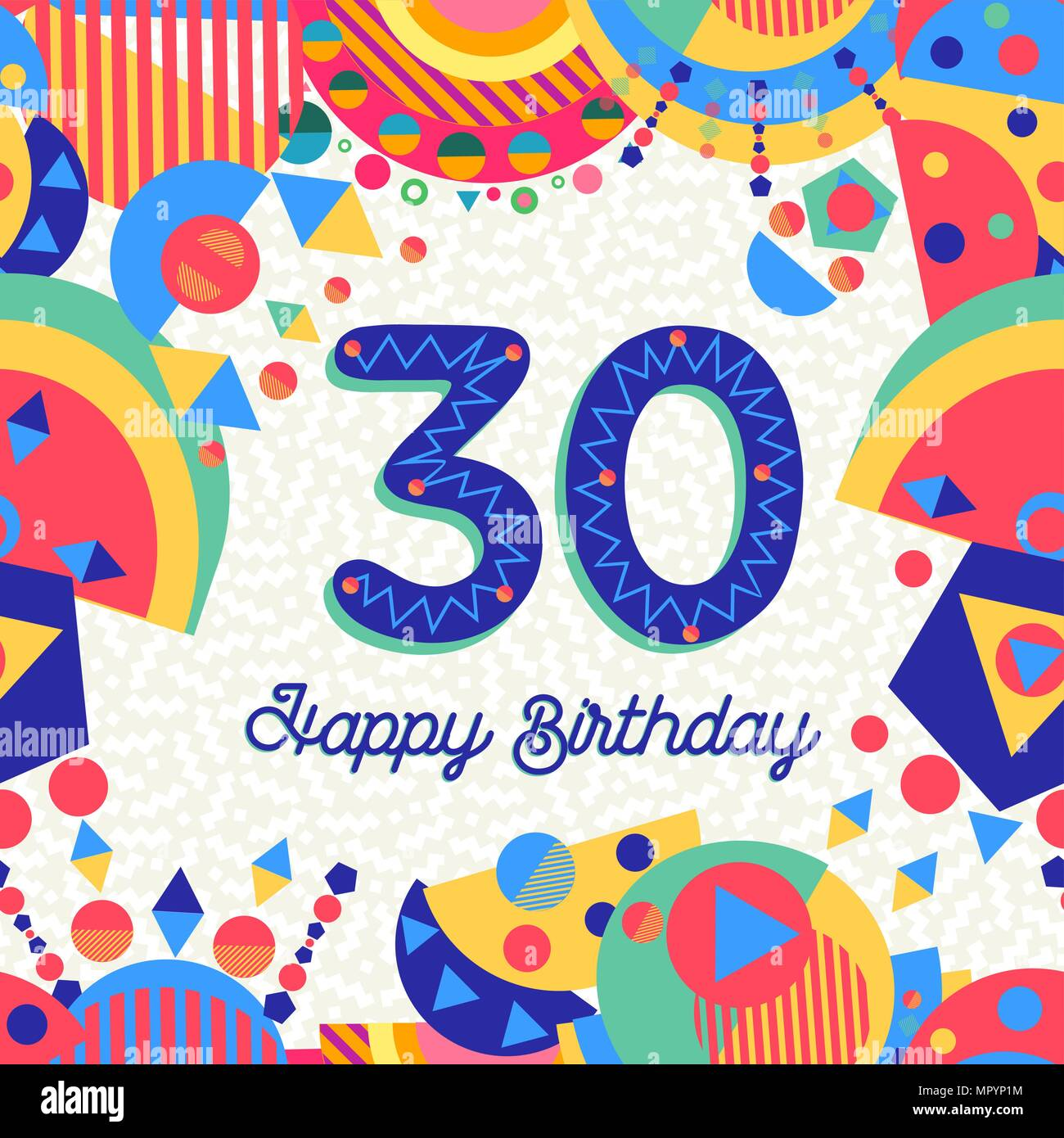 Happy Birthday Thirty 30 Year Fun Design With Number Text Label And