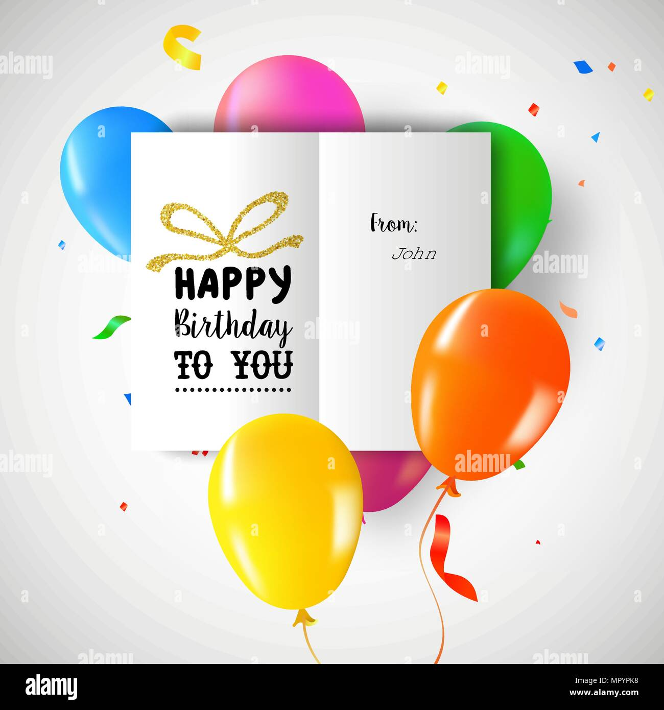 Happy Birthday Greeting Card On Colorful Party Balloons And Confetti