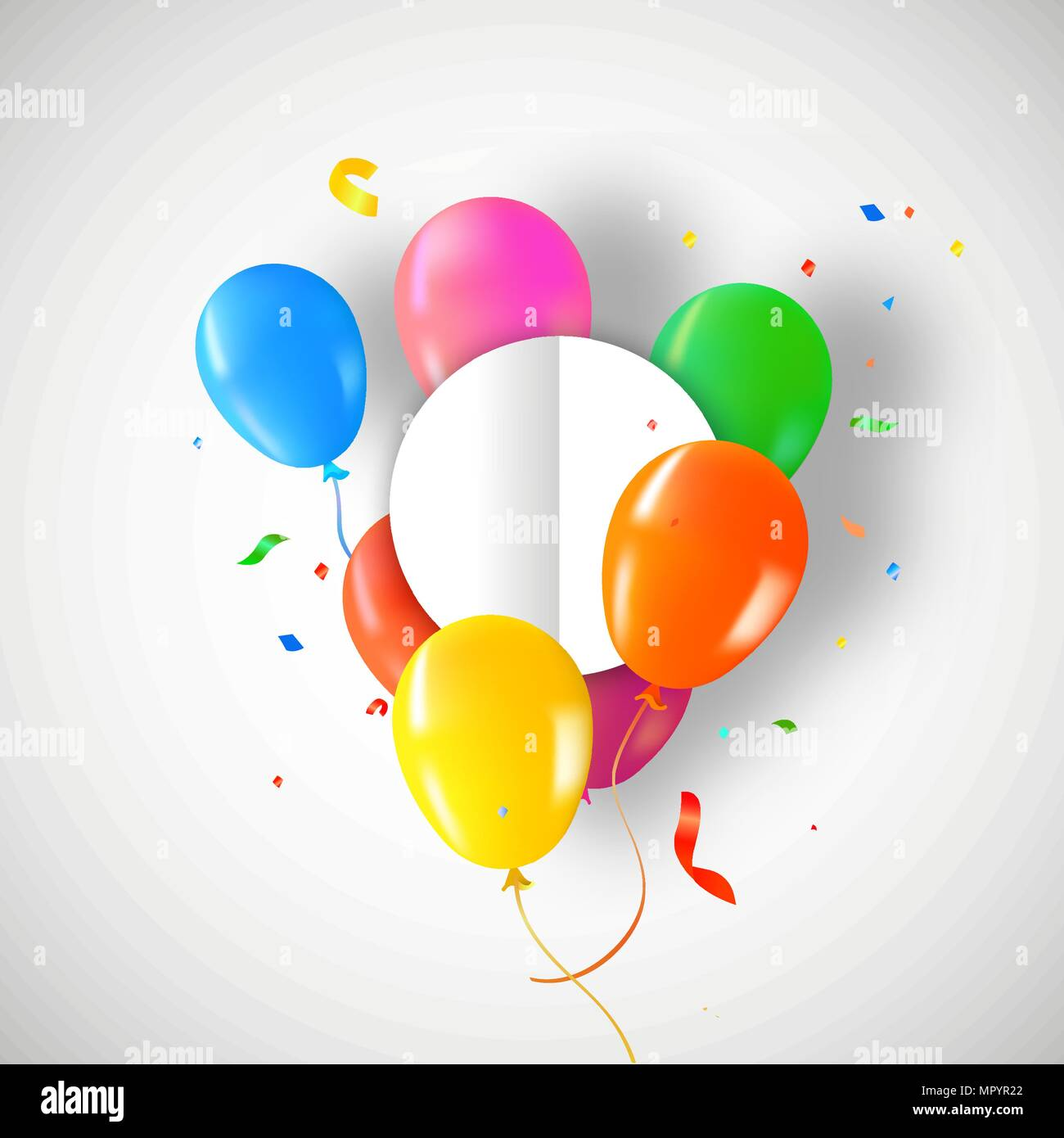 Birthday balloons with circle paper card template for special ...