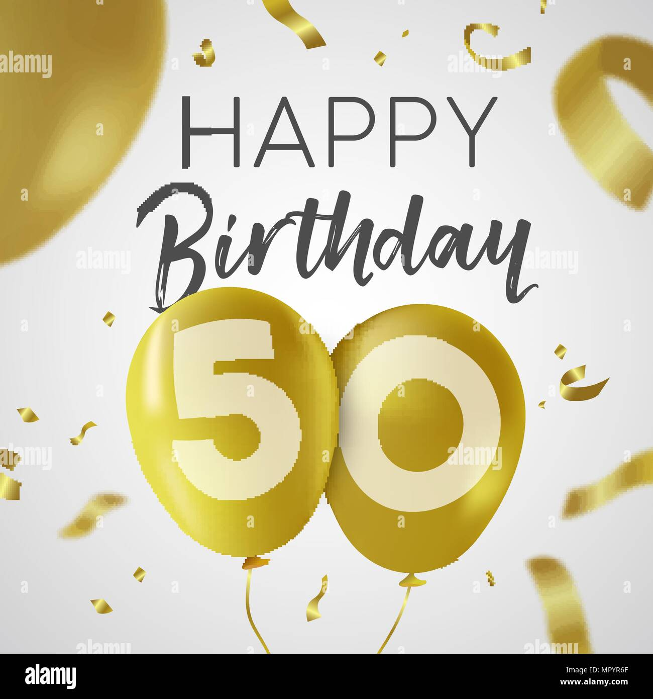 Happy Birthday 50 Fifty Years Luxury Design With Gold Balloon Number And Golden Confetti Decoration Ideal For Party Invitation Or Greeting Card EPS