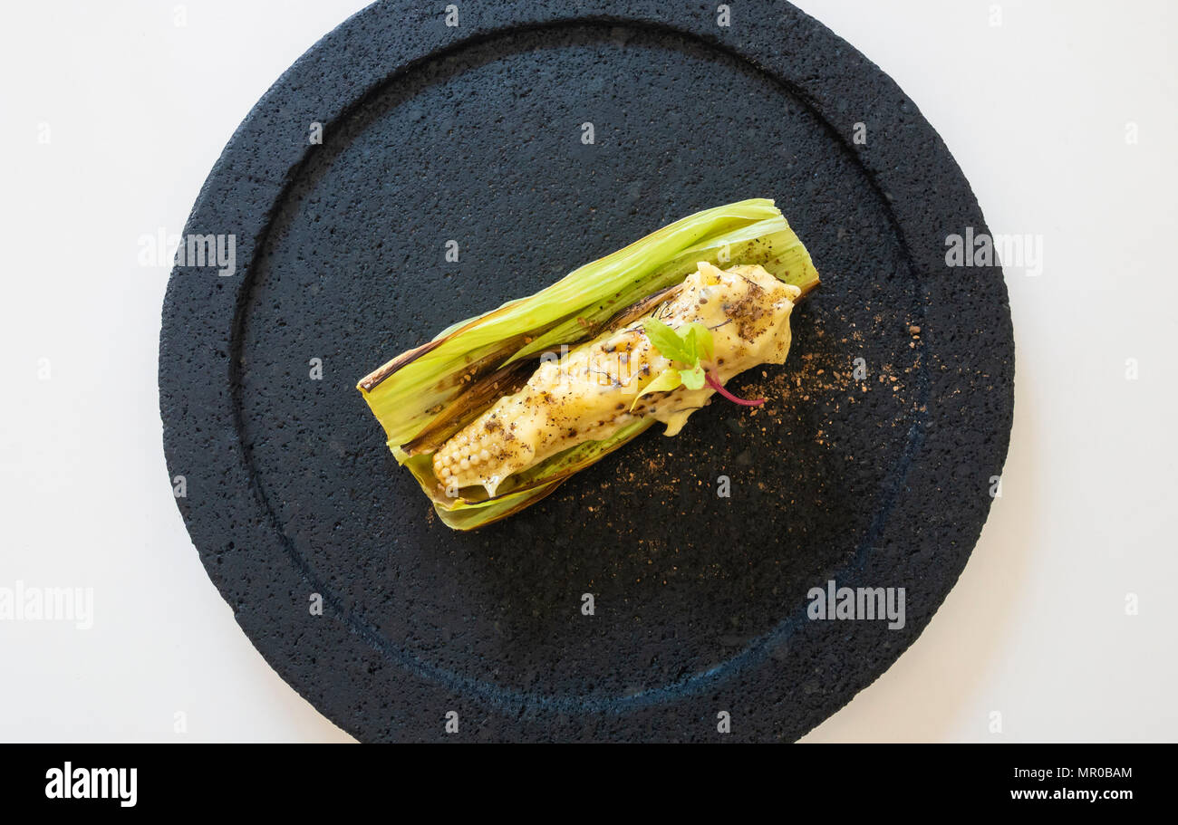 Baby corn, one item in a tasting menu at Merchanta Comedor in San Miguel de Allende, Mexico - Stock Image