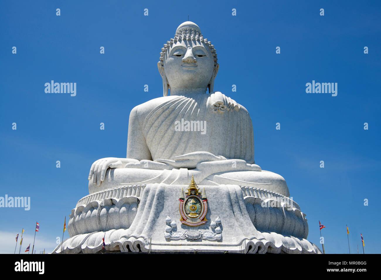 Close-up low angle Big Buddha Phuket Thailand - Stock Image